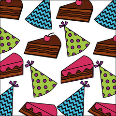 sweet cake slice with hat party pattern
