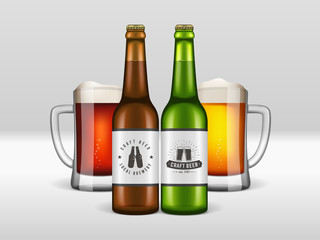 Realistic craft beer bottles and mugs. Vector craft beer poster with two glasses of dark and light beverages, green and brown bottles. Mockup banner for bar, brewery or pub.