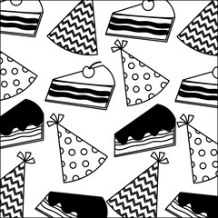 sweet cake slice with hat party pattern vector illustration design