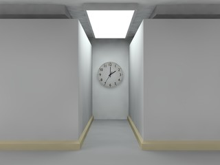 stylized image of a room of cubes, lighted corridor, on the wall of which there is a clock. The idea of time, eternity, and a lunch break. 3D rendering.