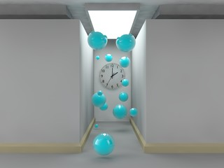 stylized image of a room made of grey cubes, lighted corridor, on the wall of which there is a clock. Many flying balloons. The idea of time, eternity, chaos and order lunch. 3D rendering