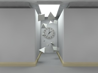 stylized image of a room made of grey cubes, lighted corridor, on the wall of which there is a clock. A variety of flying pyramids white. The idea of time, eternity, chaos and order lunch 3D rendering