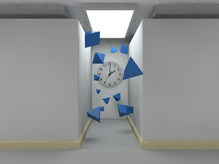 stylized image of a room of cubes, lighted corridor, on the wall of which there is a clock. A variety of flying pyramids blue. The idea of time, eternity, chaos and a lunch break. 3D rendering.