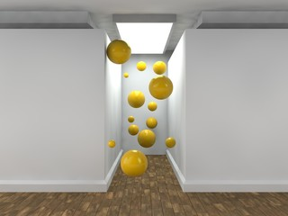 the image of an empty corridor lit by a rectangular light with white walls and a lot of flying balls yellow. a stylized image on white background. 3D rendering