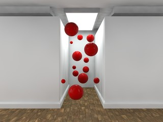 the image of an empty corridor lit by a rectangular light with white walls and a lot of flying red balls. a stylized image on white background. 3D rendering