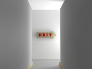 an image of an empty hallway and white walls, turn which shines in the light and the pointer release. A stylized image, the idea of leaving the difficulties of optimism. 3D rendering.
