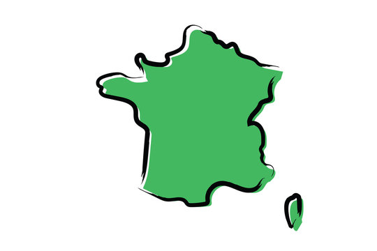 Stylized green sketch map of France