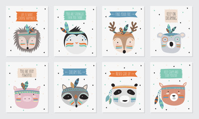 Vector collection of postcards with indian tribal animals faces with motivational slogan