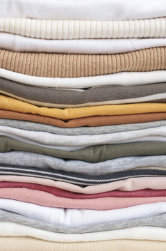 Stacked colorful t-shirts