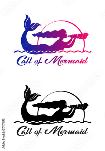 set of color and black graphic drawings of mermaid singing on sea