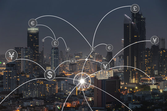 Money transfer icon over cityscape for banking concept background.