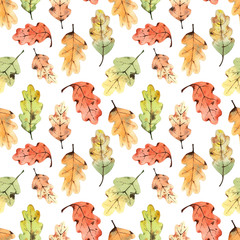 Pattern with watercolor oak leaves.
