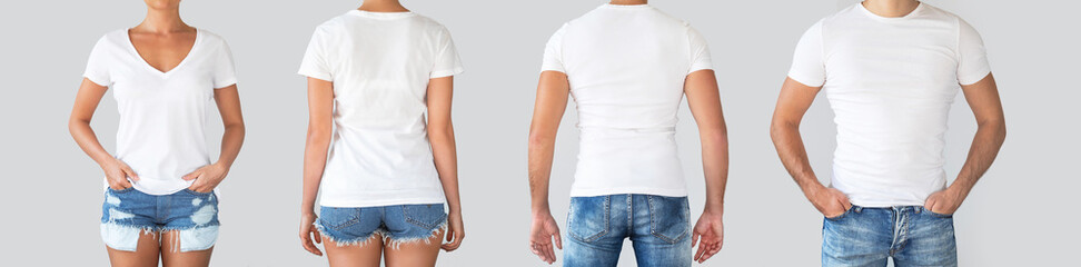 Male and female t-shirts from different sides for your logo or text