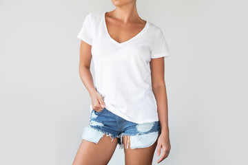 Woman wearing cotton white shirt with empty space for your text or logo