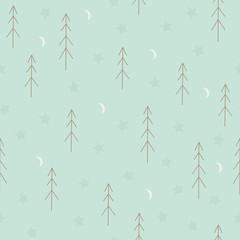 Seamless pattern with fir trees, stars and moon. Scandinavian se