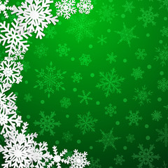 Christmas illustration with semicircle of big white snowflakes with shadows on green background