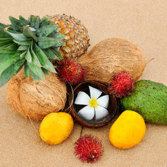 Set of tropical fruits on a sandy beach. Sri Lanka.