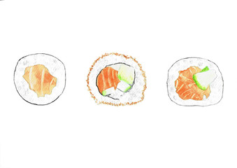 Watercolor illustration Japanese sushi set isolated on white background. Hand drawn painting.