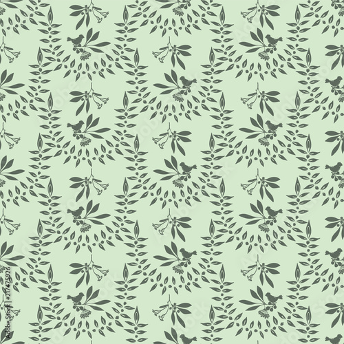 Olive Leaf Berry Birds Branch Vector Pattern Seamless Silhouette Background For Seasonal Fashion Prints