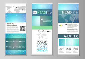 Roll up banner stands, geometric design templates, vertical vector flyers, flag layouts. Chemistry pattern, connecting lines and dots, molecule structure, medical DNA research. Medicine concept.
