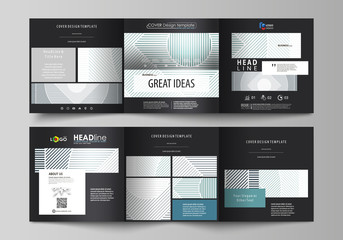 Set of business templates for tri fold square design brochures. Leaflet cover, abstract vector layout. Minimalistic background with lines. Gray color geometric shapes forming simple beautiful pattern.