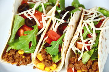 Colorful of Ground Beef with taco