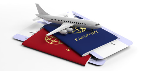 Two passports and airplane tickets isolated on white background. 3d illustration