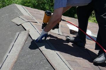 New roof shingle nailing.