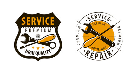 Service, workshop logo or label. Repair icon. Vector