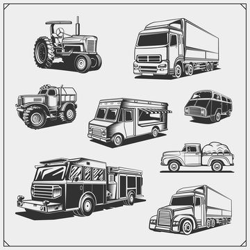 Set of cars. Cargo, fire, food truck, delivery vehicle and off-road suv car, tractor and pickup.