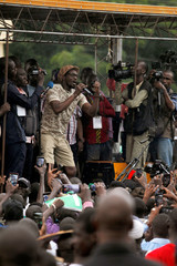 Malian activist, Ras Bath speaks during a protest against what they say were irregularities in the first-round vote count, ahead of the second round  in Bamako