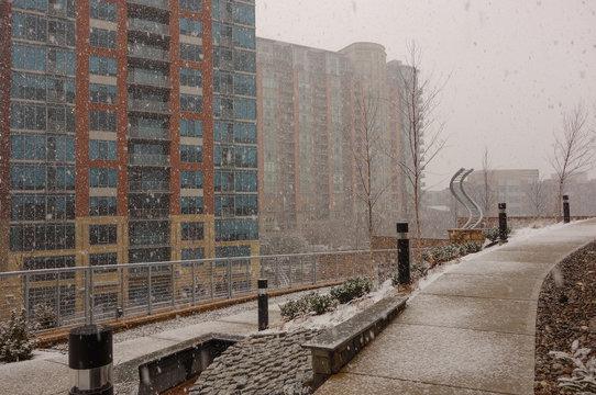 Tysons, McLean, Virginia, USA. Snow Blizzard in Tysons corner neighborhood.