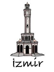 clock tower illustration izmir  text turkey
