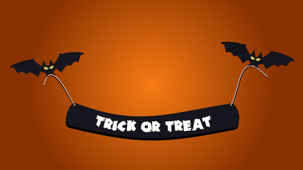 Halloween background picture with flying bats holding a text, Vector elements for banner, greeting card halloween celebration, halloween party poster.