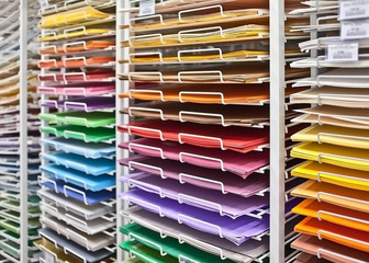 Shelves with colored paper in the store.