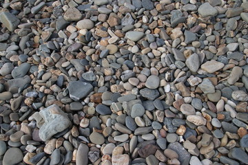 Gravel and stones in all kind of sizes at the beach shore of the Maasvlakte in Rotterdam, Netherlands.