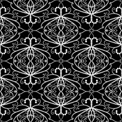 Lace dotted Damask vector seamless pattern. Black and white background