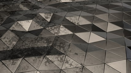 Futuristic, abstract image of the polygons are black metal with rust spots, faults and folds,...