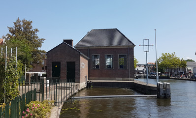 water pumping station at river Vliet in Leidschendam, the Netherlands