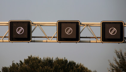 Electric signs above the motorway A20 at Rotterdam to show end of earlier prohibitions in the Netherlands