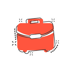 Vector cartoon suitcase icon in comic style. Luggage bag sign illustration pictogram. Diplomat case business splash effect concept.