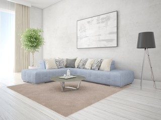 Mock up a luxurious living room with a comfortable corner sofa and a trendy hipster background.