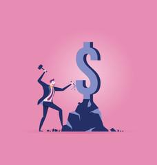 Business people make money. Concept business vector illustration