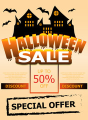Halloween Sale template poster or banner. Vertical background with castle and bats. Vector illustration.