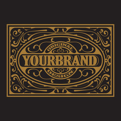 Antique label, vintage frame design, typography, retro logo template, vector