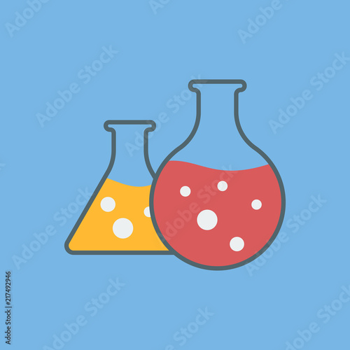 Vector Icon Of Laboratory Flasks Laboratory Test Chemical