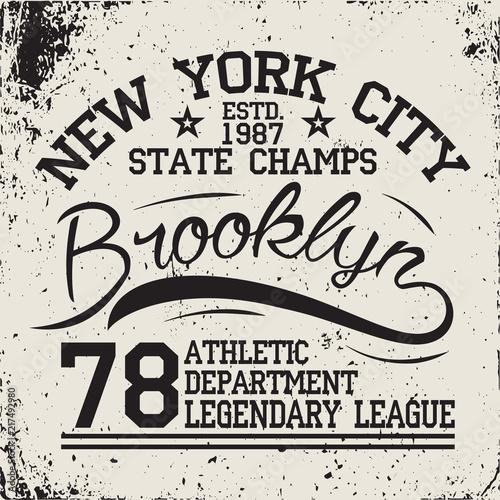 f4c38e4d New York Sport wear typography emblem, t-shirt stamp graphics, tee print, athletic  apparel design. Vector illustration.