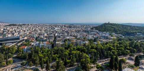 Vue sur Athènes et le Péloponnèse depuis l'Acropole