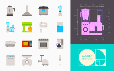 color kitchen appliances icons on a white background