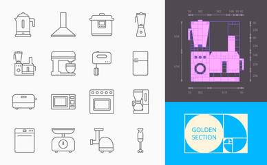 line kitchen appliances icons on a white background